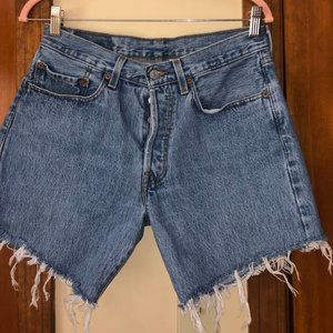 """Levis 501 Denim Distressed Upcycled Shorts 31"""""""
